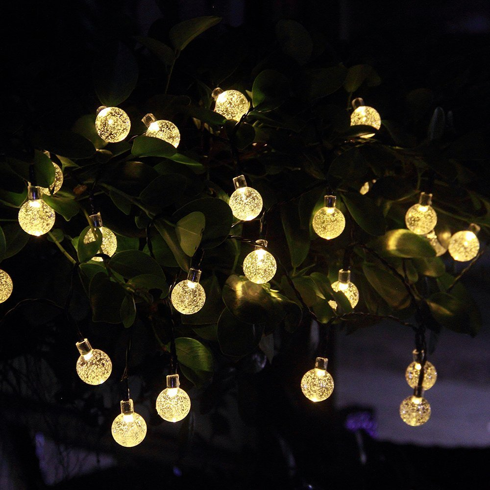 Innoo Tech Solar Outdoor String Lights, 19.7 Ft 30 LED Fairy Light Warm  White Crystal Ball Christmas Globe Lights For Garden Path, Party, Bedroom  Yard Deck ...