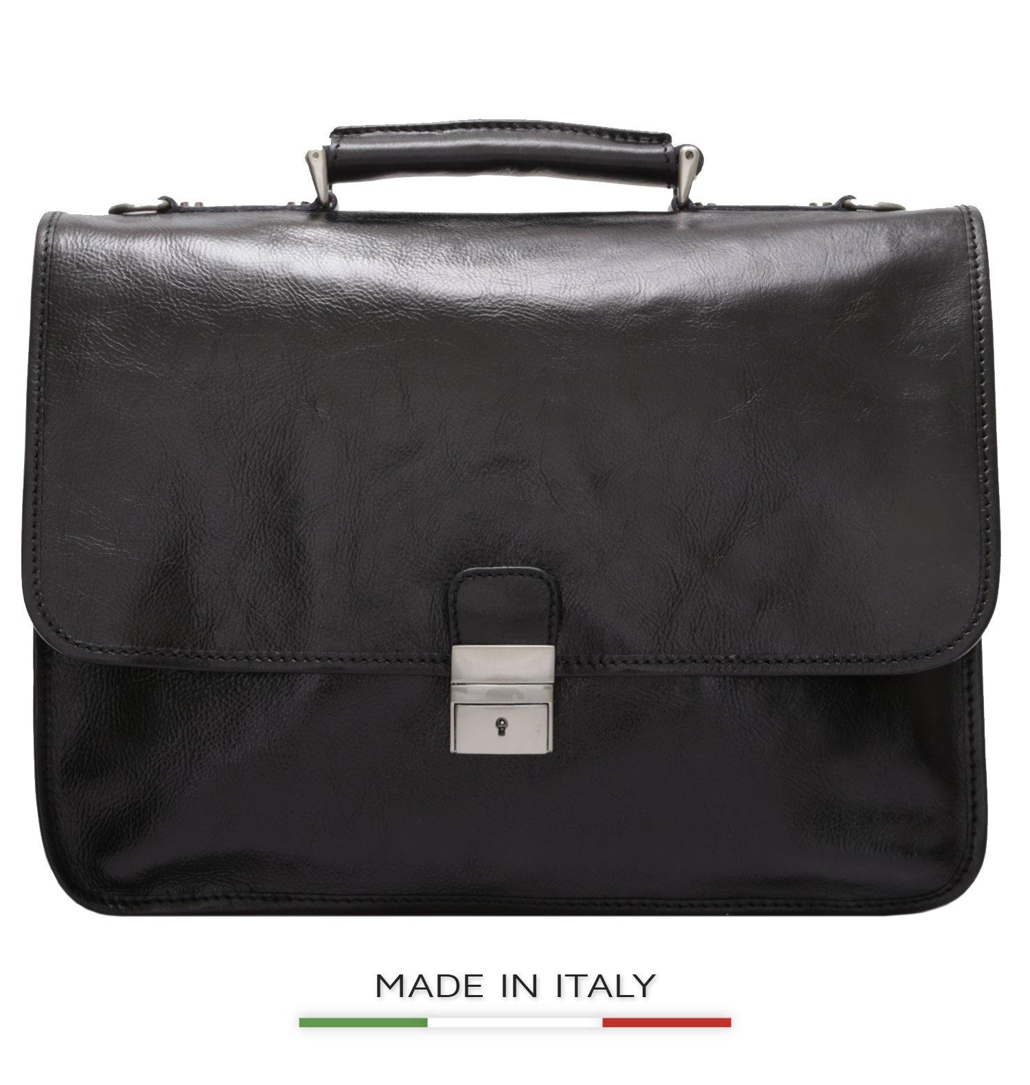 Luggage Depot USA, LLC Men's Alberto Bellucci Italian Leather Double Gusset Laptop Messenger Bag, Black, One Size
