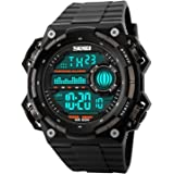 Mens Digital Watch, Aposon Boys Sports Waterproof Wrist Watch Cool Outdoor Military Watches with Silicone