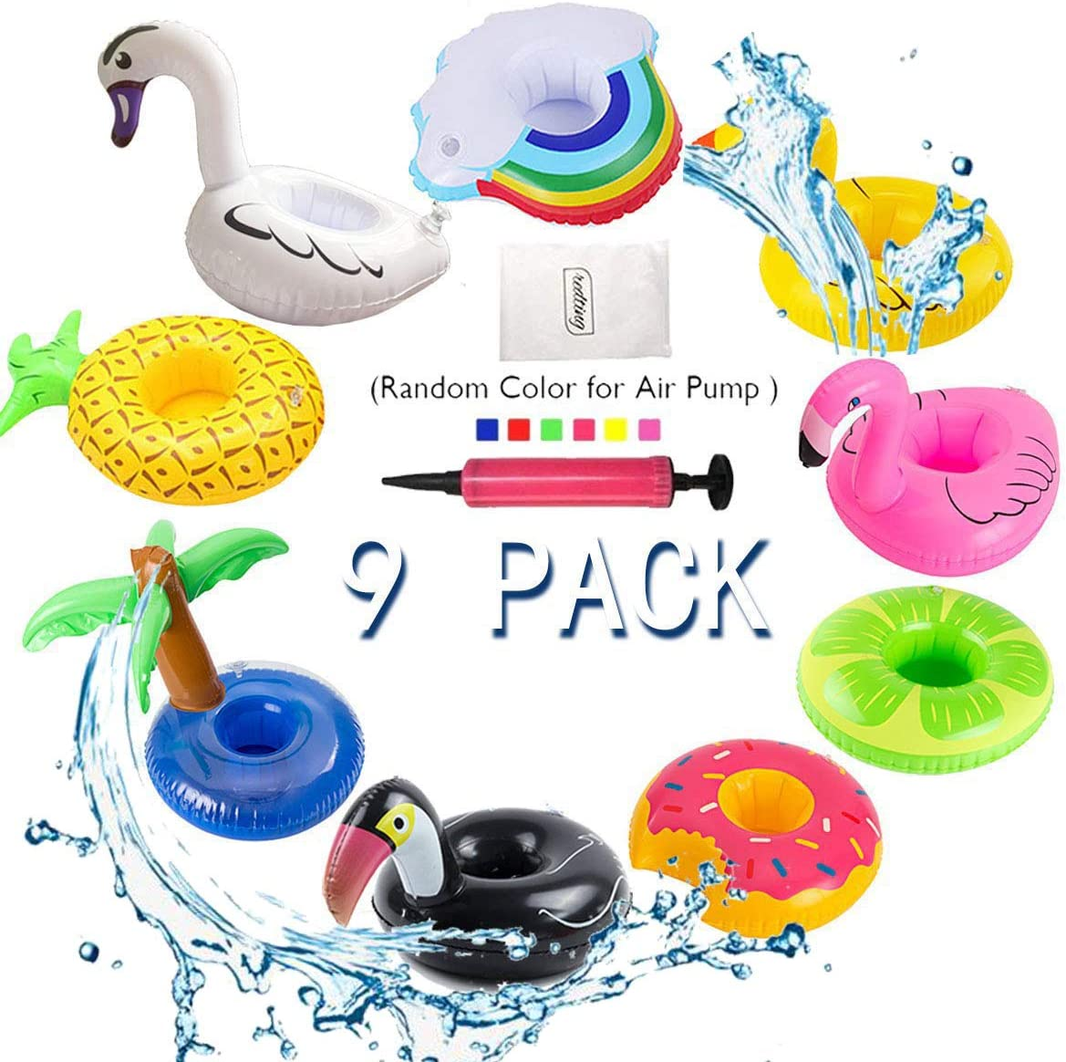redting Inflatable Drink Holder, Drink Pool Floats Cup Holder Floats Inflatable Floating Coasters for Pool Party (9 Pack)