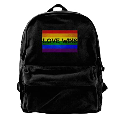Gay Pride Love Wins Canvas Backpack Travel Rucksack Backpack Daypack Knapsack Laptop Shoulder Bag hot sale