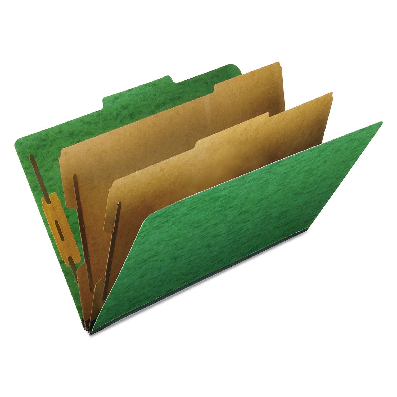 Pendaflex 2257GR Six-Section Colored Classification Folders, Legal, 2/5 Tab, Green, 10/Box