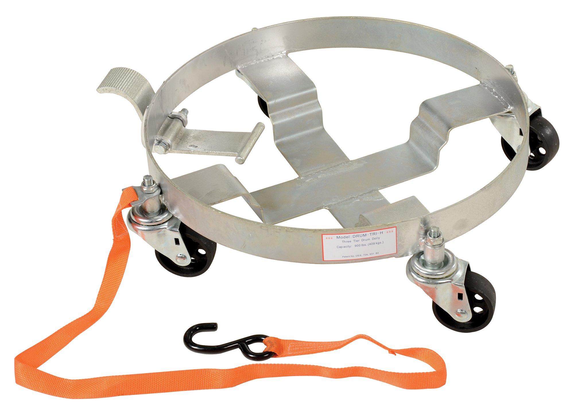 Vestil DRUM-TRI-H-TLT Tilting Drum Dolly tilts for better liquid extraction for5-gallon pail, 30-gallon drum, LP gas tank, Tilt Feature works with 30-gallon drum, 900 lbs Capacity