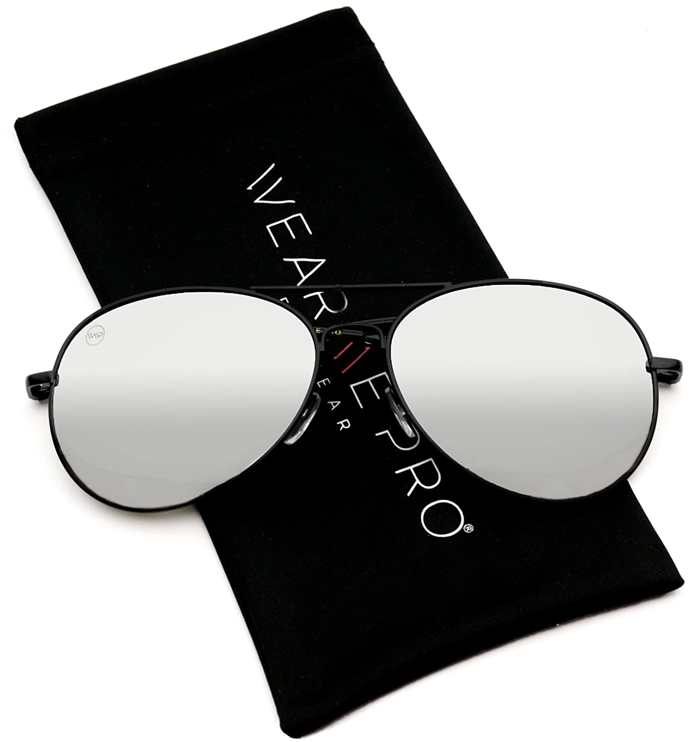 247a1e3ef51 Amazon.com  Aviator Full Silver Mirror Metal Frame Sunglasses (Black Frame Mirror  Silver Lens