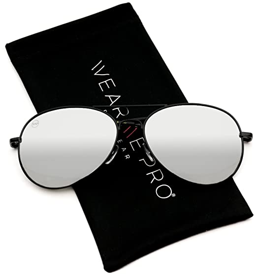 Aviator Full Silver Mirror Metal Frame Sunglasses (Black Frame Mirror Silver  Lens 717465d53d8