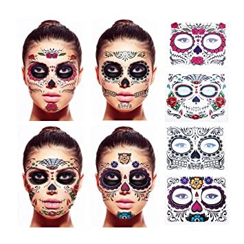 ab28b6df3 Amazon.com : Floral Day of the Dead Sugar Skull Temporary Face Tattoo Kit,  Black Web, Red Roses - Pack of 4 : Beauty