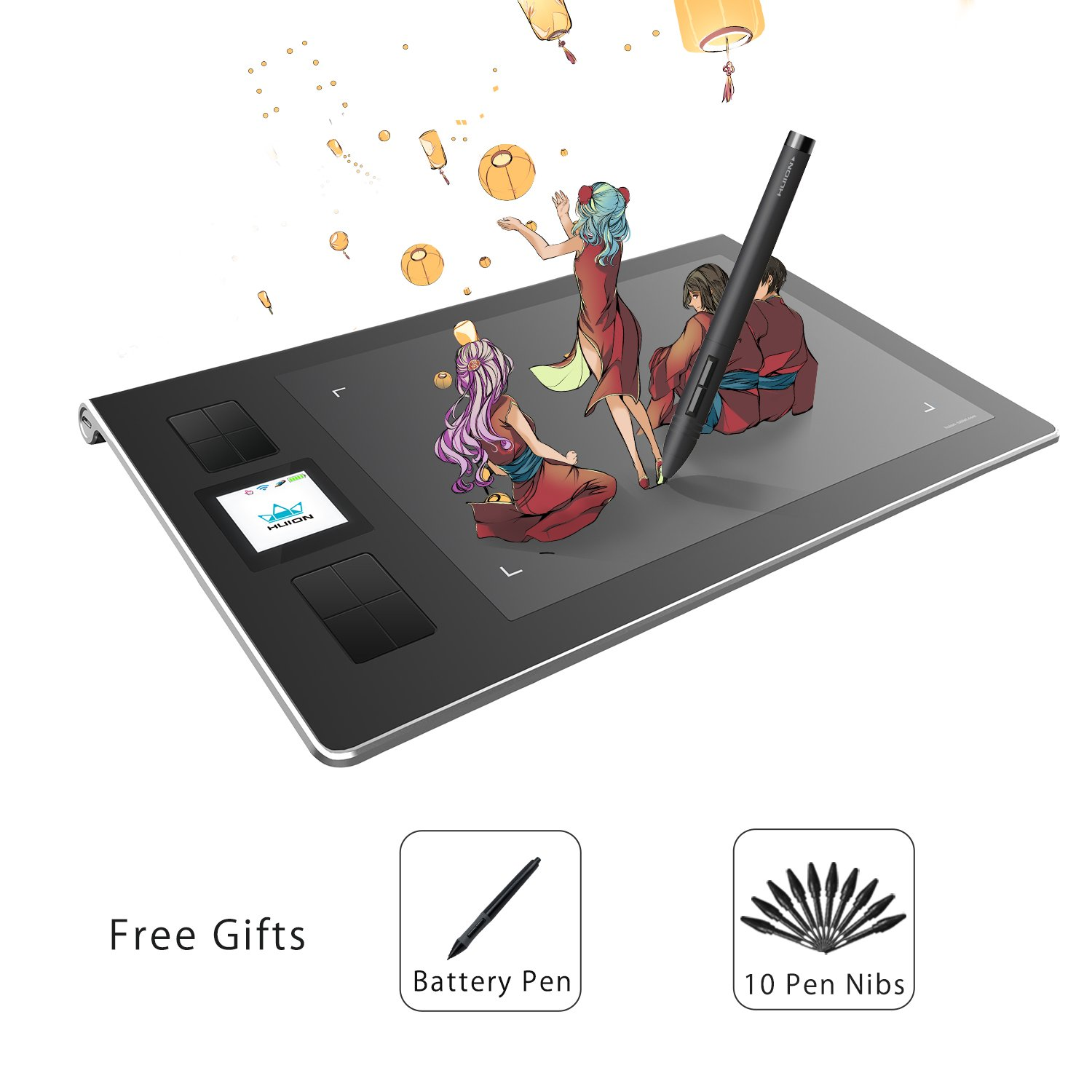 Huion 6-by-9 inch Wireless Graphics Tablet Drawing Tablet with 8 Express Keys TFT Display and Build-in Li-ion Battery- DWH69 by Huion