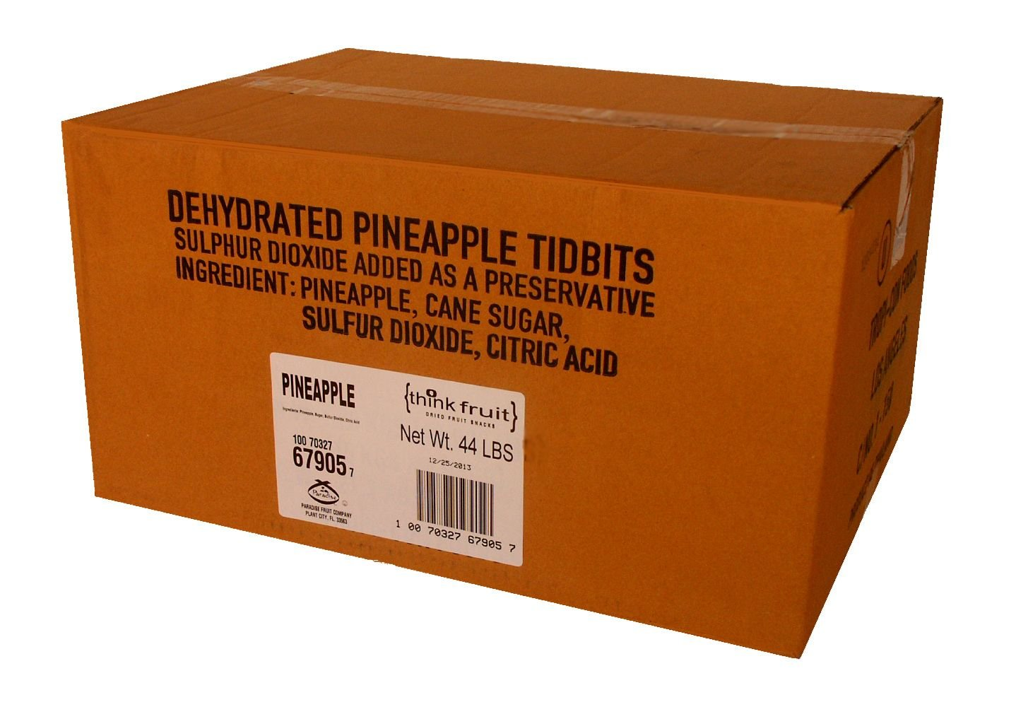Thinkfruit Natural Dehydrated Fruit Bulk Pack, Pineapple, 44 Pound