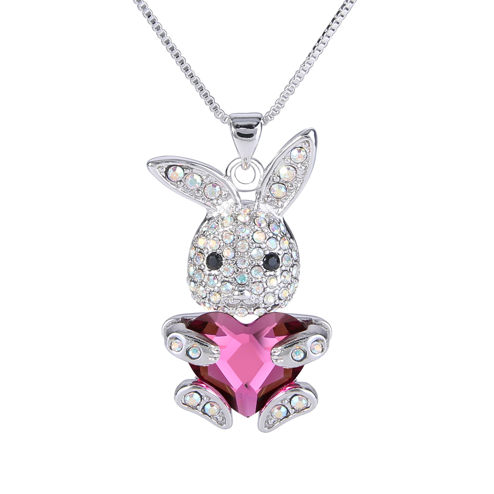 EleQueen Easter Day Women's Silver-tone Pink Bunny Heart Pendant Necklace Adorned with Swarovski Crystals