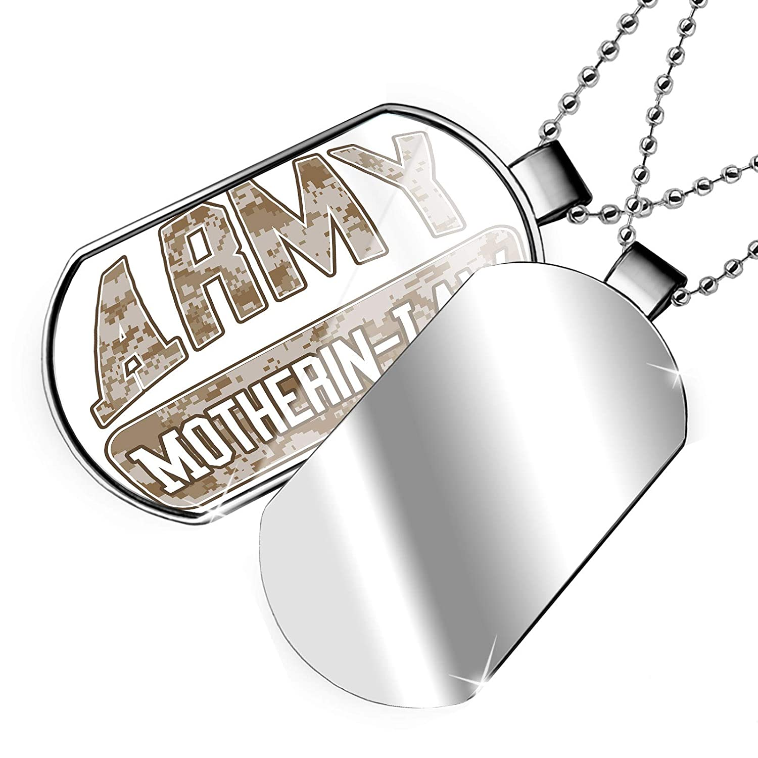 NEONBLOND Personalized Name Engraved Army Motherin-Law Camo Dogtag Necklace