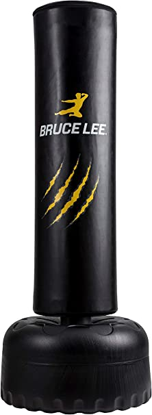 Bruce Lee Freestanding Punch Bag Free Standing Punch Bag Boxing Stand Yellow Black Sport Freizeit