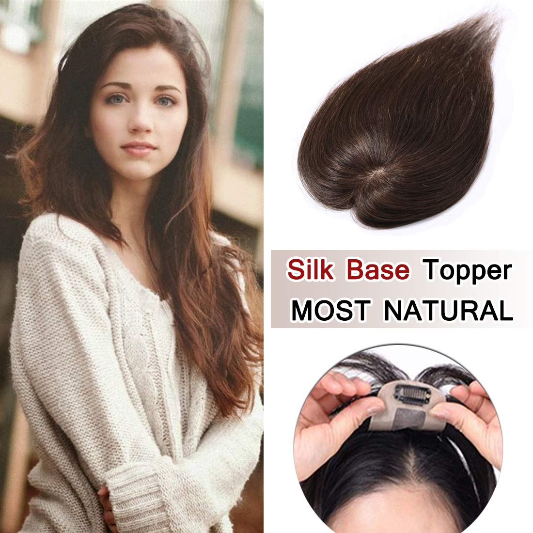 100% Density Top Hair Pieces Silk Base Crown Topper Human Hair Clip in Hair Toppers Top Hairpieces for Women with Thinning Hair Gray Hair/Hair Loss #04 Medium Brown 16 inches 30g