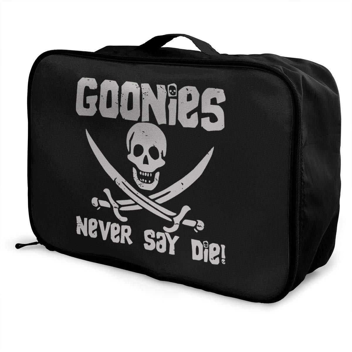 Fretlo Goonies-Never-Say-Die Travel Duffel Bag Waterproof Lightweight Large Capacity Portable Luggage Bag Black