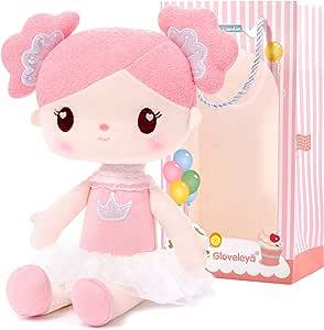 Gloveleya Baby Girl Gifts Rag Doll Soft Plush Candy Girl Pink 14.5 Inches