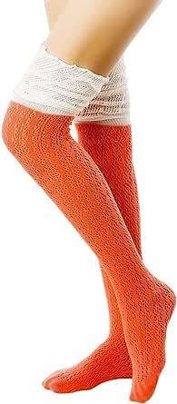 iB-iP Women's Knitting Thermal Stitching Japanese Fashion Thigh High Long Socks