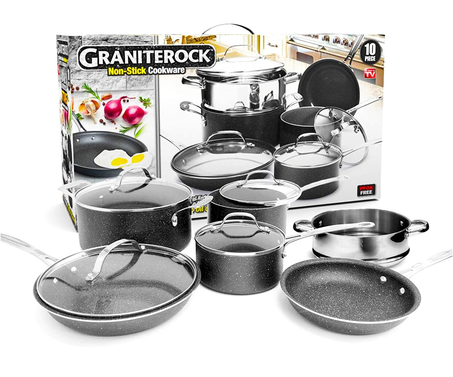 GRANITEROCK 10 Piece Cookware Set, Scratch-Proof, Nonstick Granite-coated, PFOA-Free As Seen On TV Emson