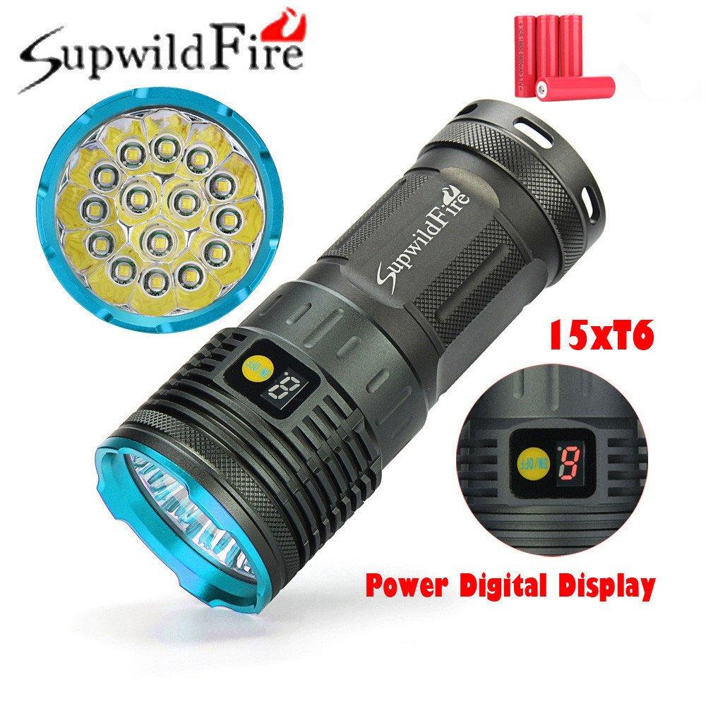 Taschenlampe 50000lm Jamicy® 15 x XM-L T6 LED Power & Modus Digitalanzeige Jagd Taschenlampe Wiederaufladbare Wasserdichte Beleuchtung Entfernung 200-500 m (Blau)