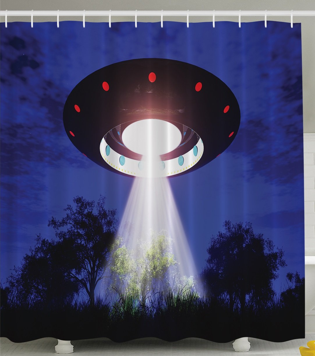 Ambesonne Space Shower Curtain Home Decor, Jupiter Neighbors Outer Space UFO Aliens Spaceship Extra Terrestrial Theme Design Print, Astronomy Gifts, Polyester Fabric Bathroom Set, Blue Black White