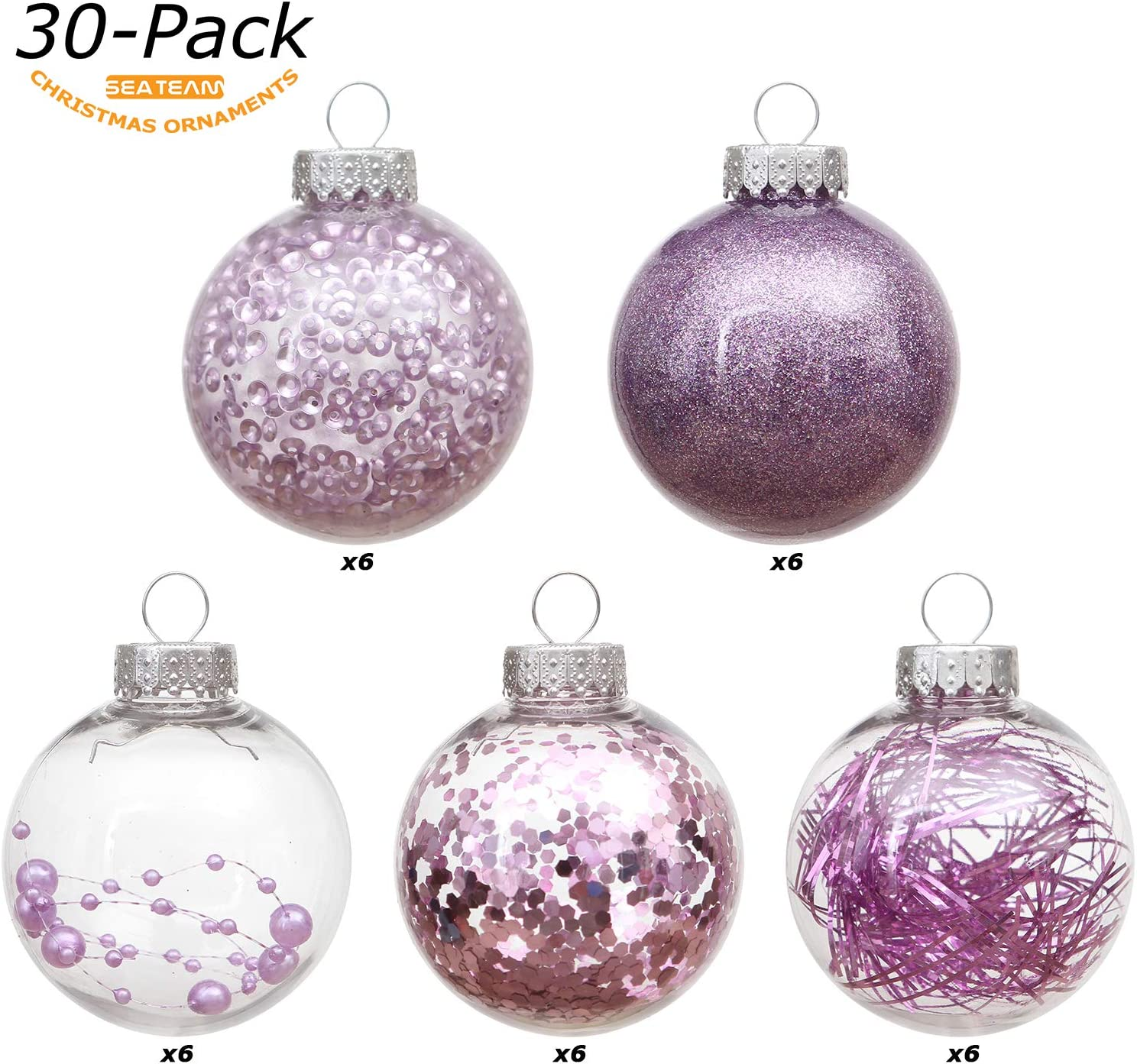 30 Counts, Orchid Sea Team 60mm//2.36 Shatterproof Clear Plastic Christmas Ball Ornaments Decorative Xmas Balls Baubles Set with Stuffed Delicate Decorations