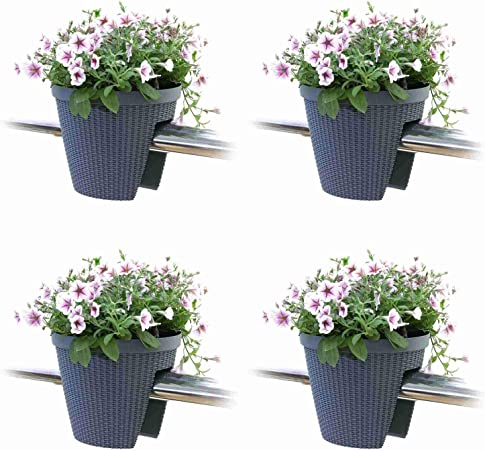 3 x Grey Round Bridge Planters Balcony Decking Railing Hanging Plant Flower Pots