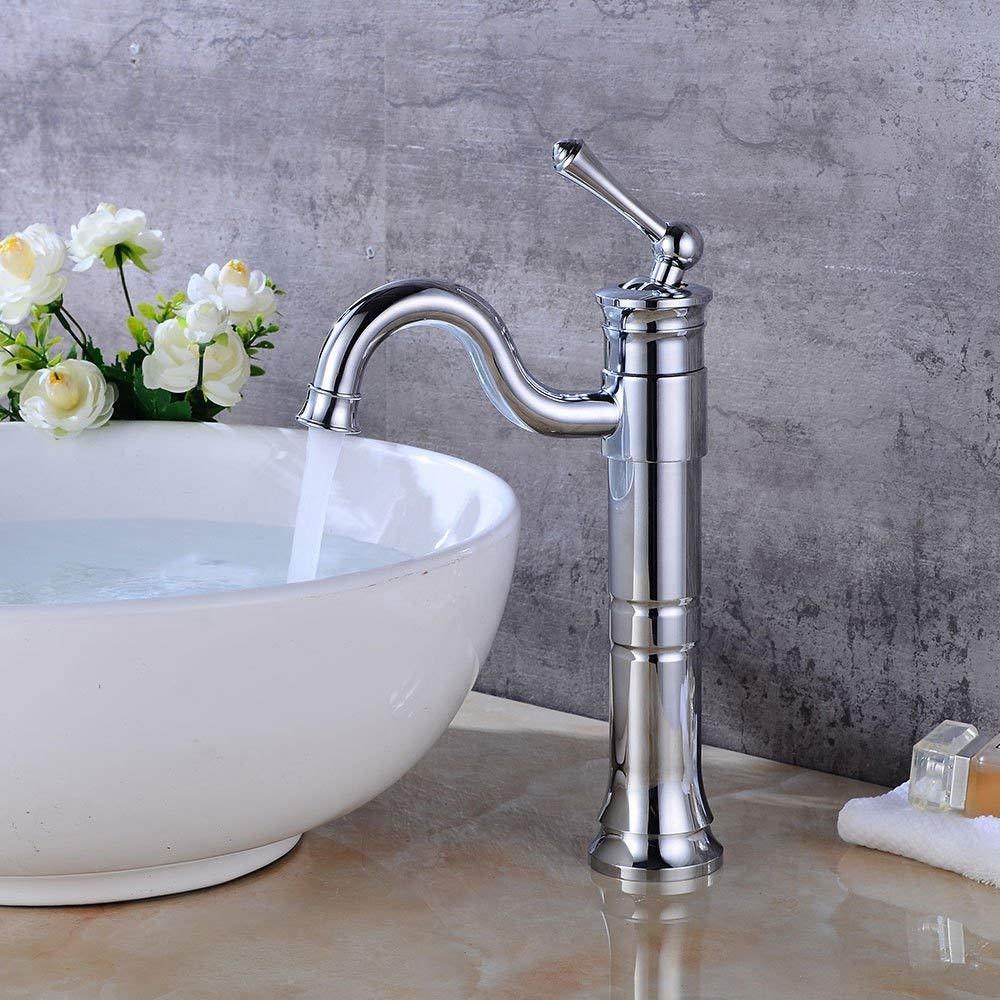 Eeayyygch Küchen-Mischbatterie Spülbecken Waschtischmischer Wasserhahn mit drehbarem Auslauf Wasserfall heiß und kalt antik Waschbecken Beckenmischer (Farbe   -, Größe   -)