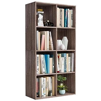 Homfa Bibliotheque Etagere Bibliotheque Livres Rangement Bois Pour Salon Design Bureau Chene 8 Casiers