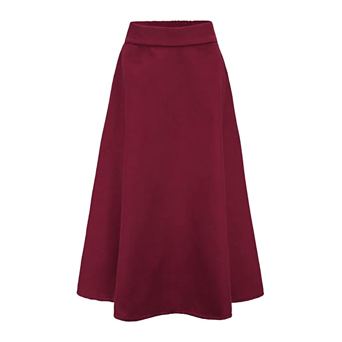 1940s Teenage Fashion: Girls Choies Womens High Waist A-line Flared Long Skirt Winter Fall Midi Skirt $38.99 AT vintagedancer.com