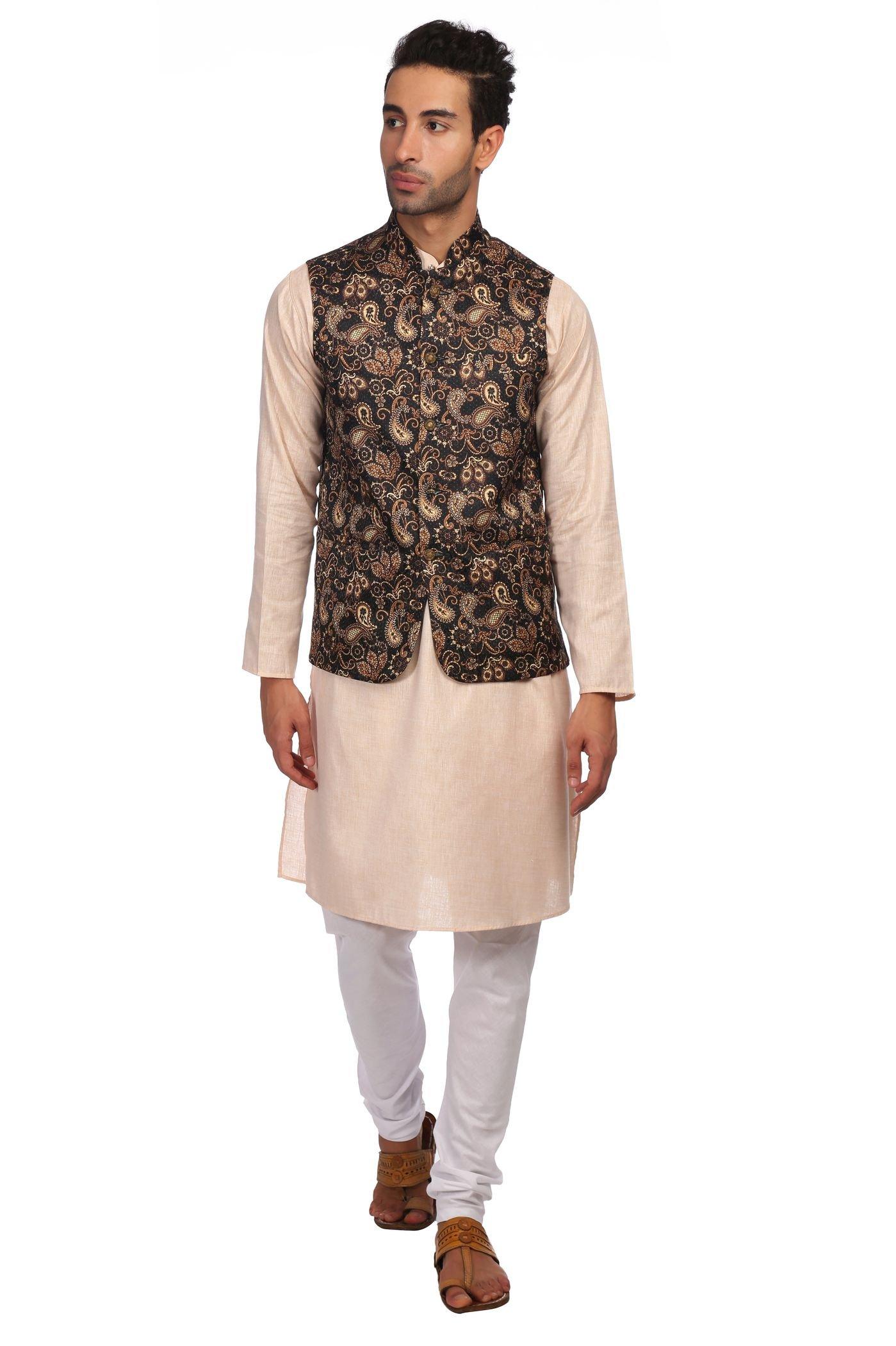 WINTAGE Men's Imported Rayon Printed Nehru Jacket Waistcoat and Cotton Rich Light Orange Kurta Pajama Indian Ethnic Set : XX-Large