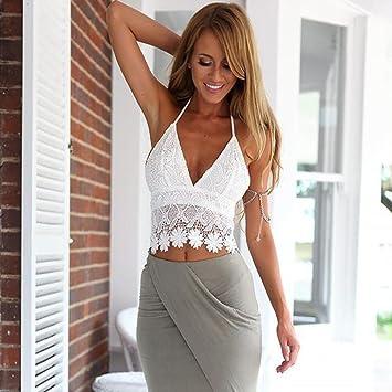 f476a503d4 Amazon.com  Bra Top ,Beautyvan Comfortable Women Lace Crochet Halter Crop  Tank Summer Beach Tops Blouse (S