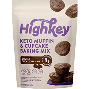 HighKey Keto Snacks Muffin Mix - Low Carb, Breakfast Food - Healthy Gluten Free Foods - Ketogenic Cupcake Desserts - Paleo Snack Sweets- Diabetic Diet Friendly Treats - Double Chocolate Chip Muffins