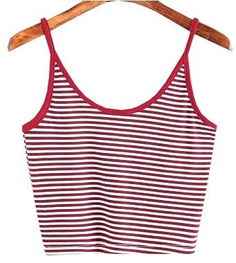 848fbaffc55aae QiaoMeiJiaRen Women s Summer Comfy Striped Spaghetti Strap Sleeveless Crop  Cami Tank Top Tee (Small)