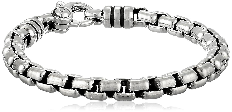 Zina Sterling Silver Men's Stratus Bracelet with Wide Venetian Chain, 8.5