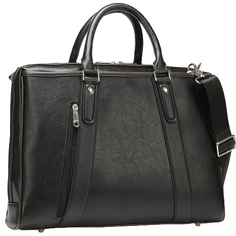 03b4b6de1493 Ronts Black PU Leather Briefcase for Men Women 15.6 Inch Laptop Messenger  Shoulder Bag Vintage Business Handbag Work Attache Case