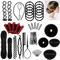 Ealicere 25pcs Haare Frisuren Set,Haar Zubehör styling set,Hair Styling Accessories Kit Set Haar Styling Werkzeug, Mädchen Magic Haar Clip Styling Pads Schaum Hair Styling tools für DIY