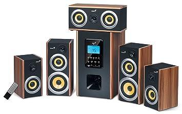 Computer/cine en casa diseño altavoz Sistema de sonido Genius 5.1 Caja Cajas Subwoofer Madera TV/PC Gamer Gaming con mando a distancia: Amazon.es: ...
