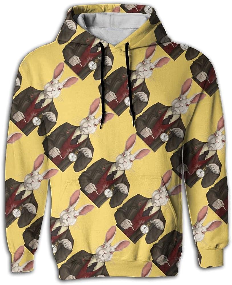 Rabbit Clock Man Animals Mens Sleeve Hoodie Cute Mens Hoodies