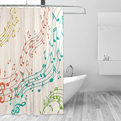 Colorful Music Note Art Design Bathroom Mildew Proof Polyester Fabric 66 X 72 Inch Shower Curtain