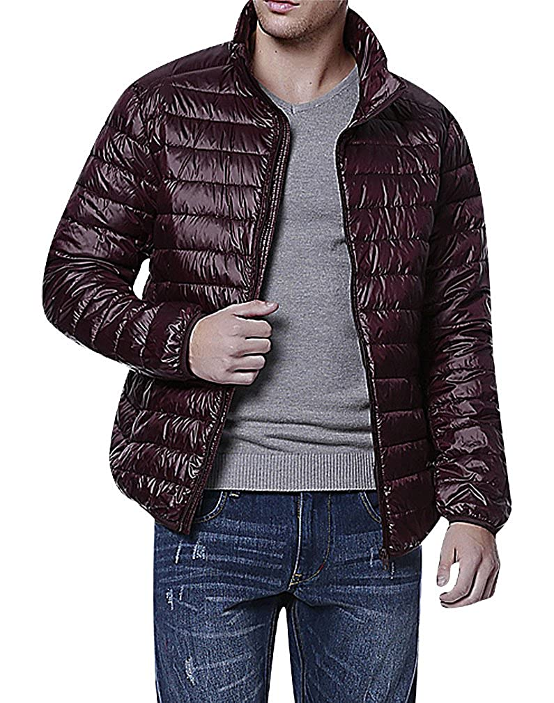 Mancave Men 1 Color Zipped 2 Pocket Quilted Light Hooded Mini Duck Down Jacket