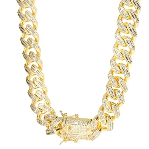 7bb97577d1dbe TRIPOD JEWELRY Hip Hop Mens Iced Out Baguette Cuban Link Chain Bracelet  -18mm 18K Gold/White Gold Plated Miami Cuban Link Chain Baguette Diamond CZ  ...