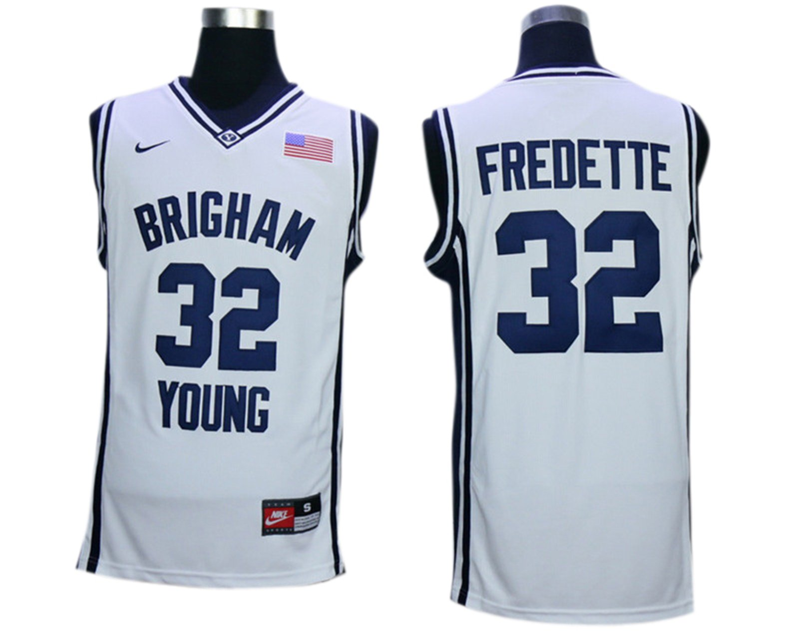 f54b7be968a Amazon.com BYU Cougars 32 Jimmer Fredette White College Jersey Size-M  (5395414163454 ...