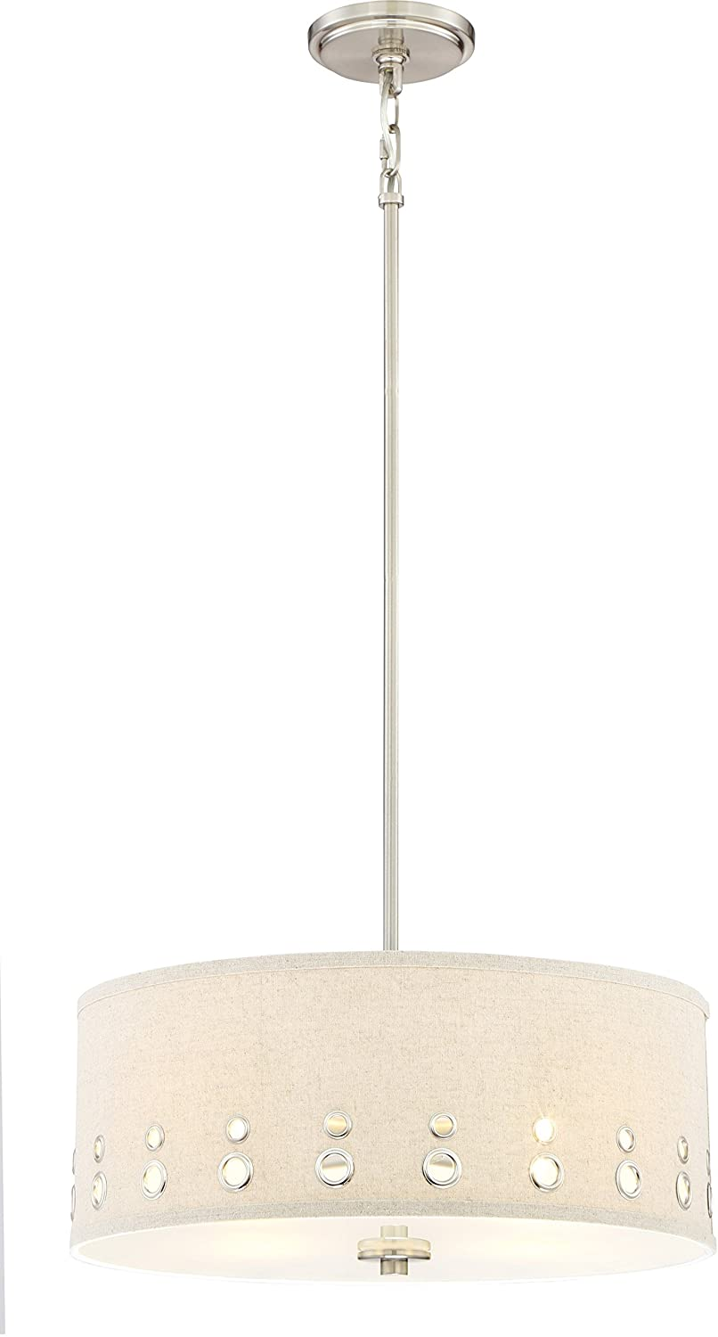 Quoizel Silver Hanging Pendant Ceiling Light Fixture with Beige Linen Drum Shade, 4-Light 400watts, LWS3233A1 Park Avenue, Brushed Nickel