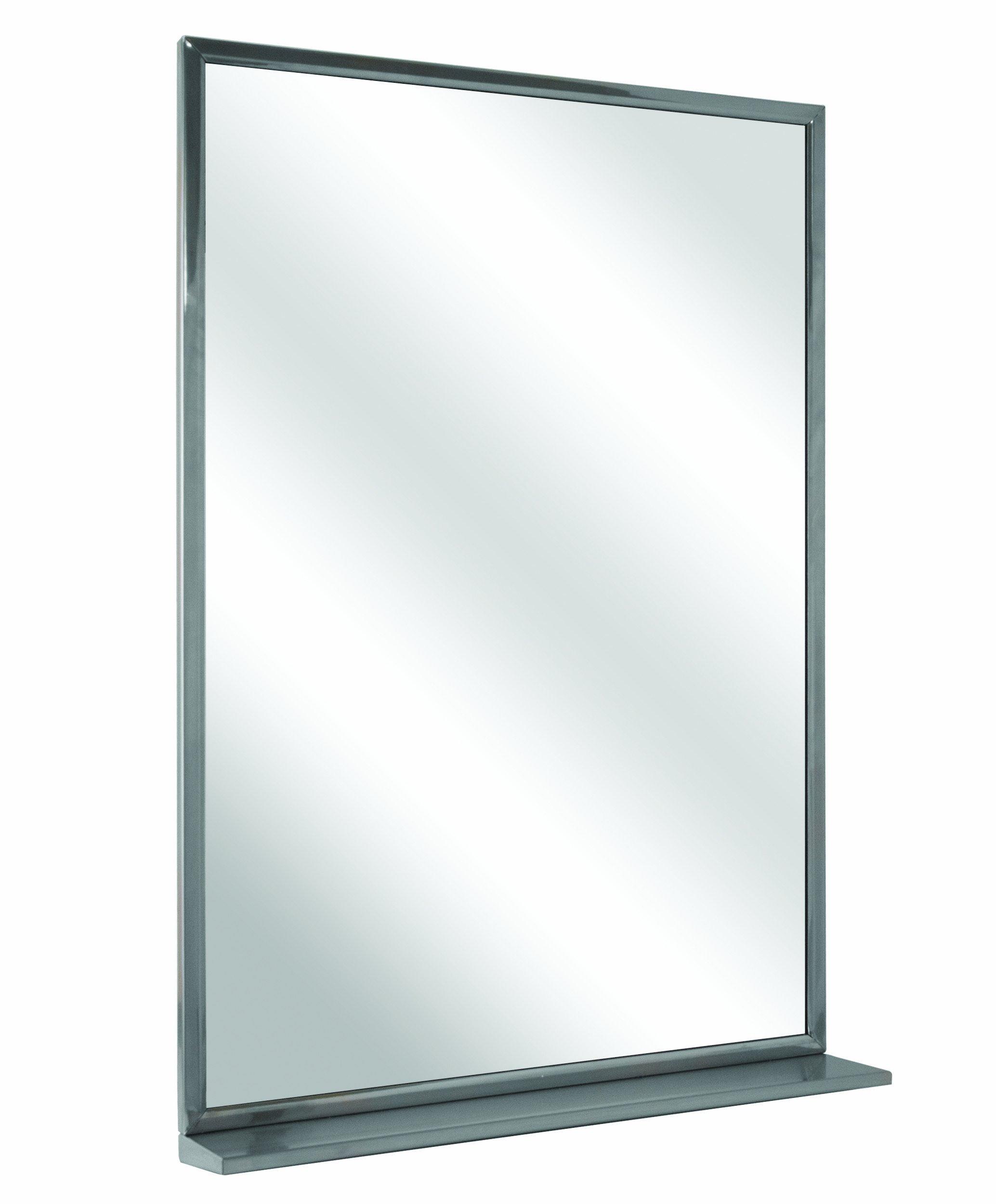 Bradley 7815-024360 Roll-Formed Channel Frame Float Glass Mirror with Shelf, 24'' Width x 36'' Height