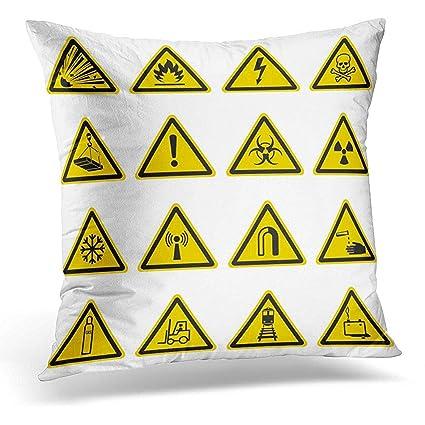 Amazon Throw Pillow Covers Warning And Hazard Symbols On Yellow