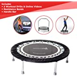 Maximus Pro Gym Rebounder Mini Trampoline with Handle bar. Includes 2 x Awesome Rebound DVD's 7 Workouts, 3 Months Free Video Membership! 150kg User Weight. Personal Adult Exercise Trampoline