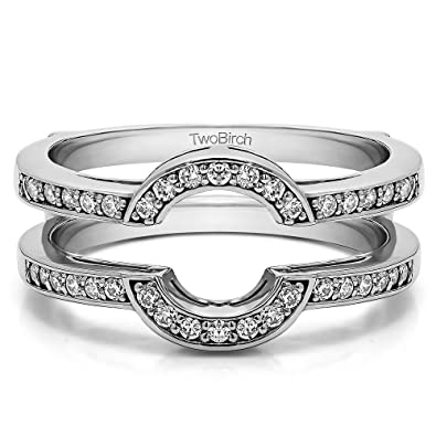 Amazon Com Twobirch Sterling Silver Round Shaped Classic Style Halo