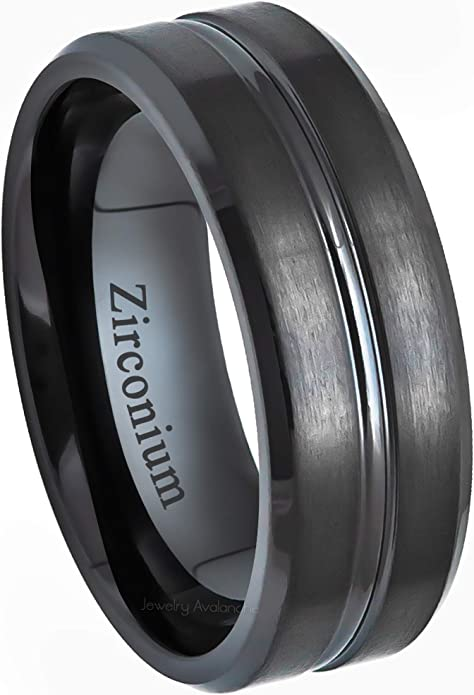 Gold IP Beveled Comfort Fit Tungsten Carbide Anniversary Ring TosowebOnline Mens 8mm Polished Finish with Blue and Black Carbon Fiber Inlay