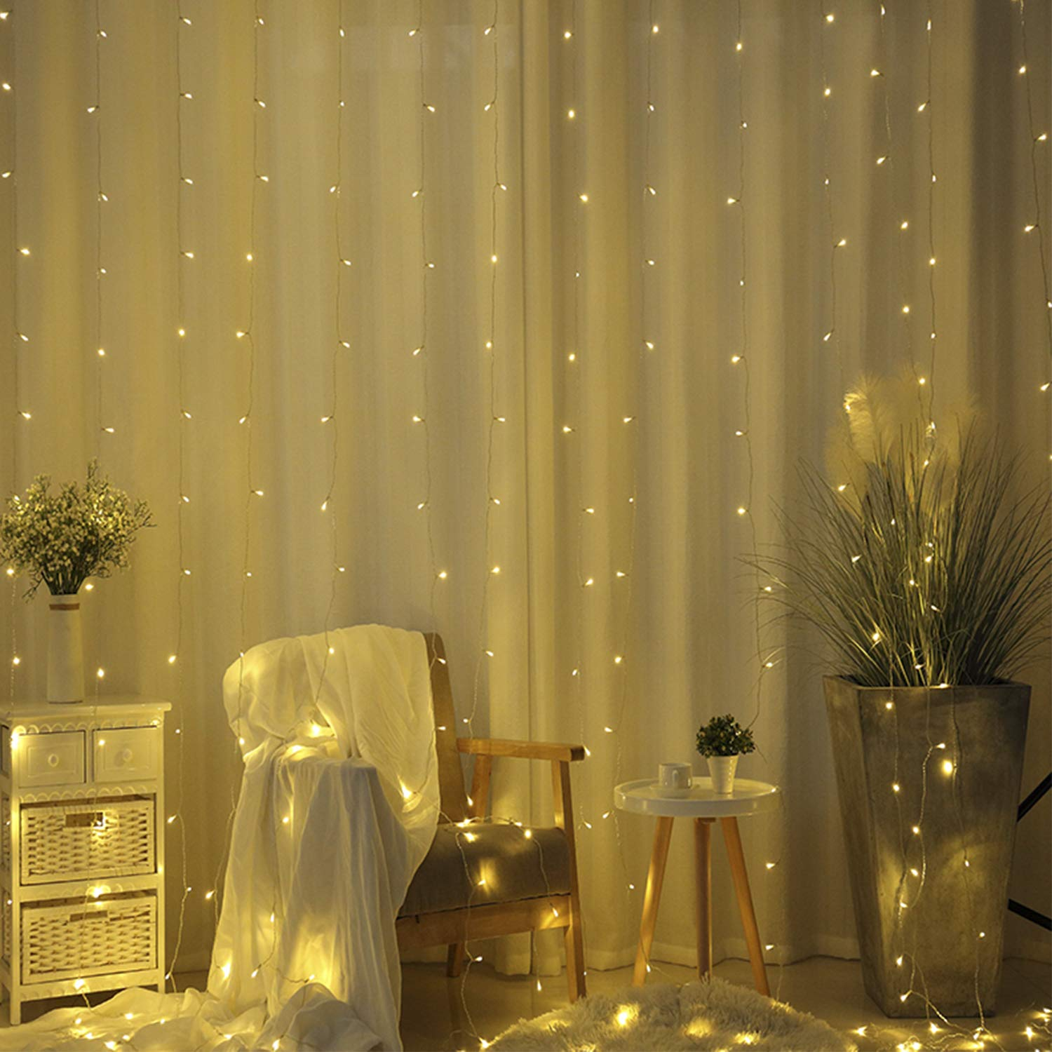 8 Modes for Wedding Party Family Patio Lawn Decoration White with DLIUZ UL Safe 304 LED 9.8Feet Connectable Curtain Icicle Fairy String Lights