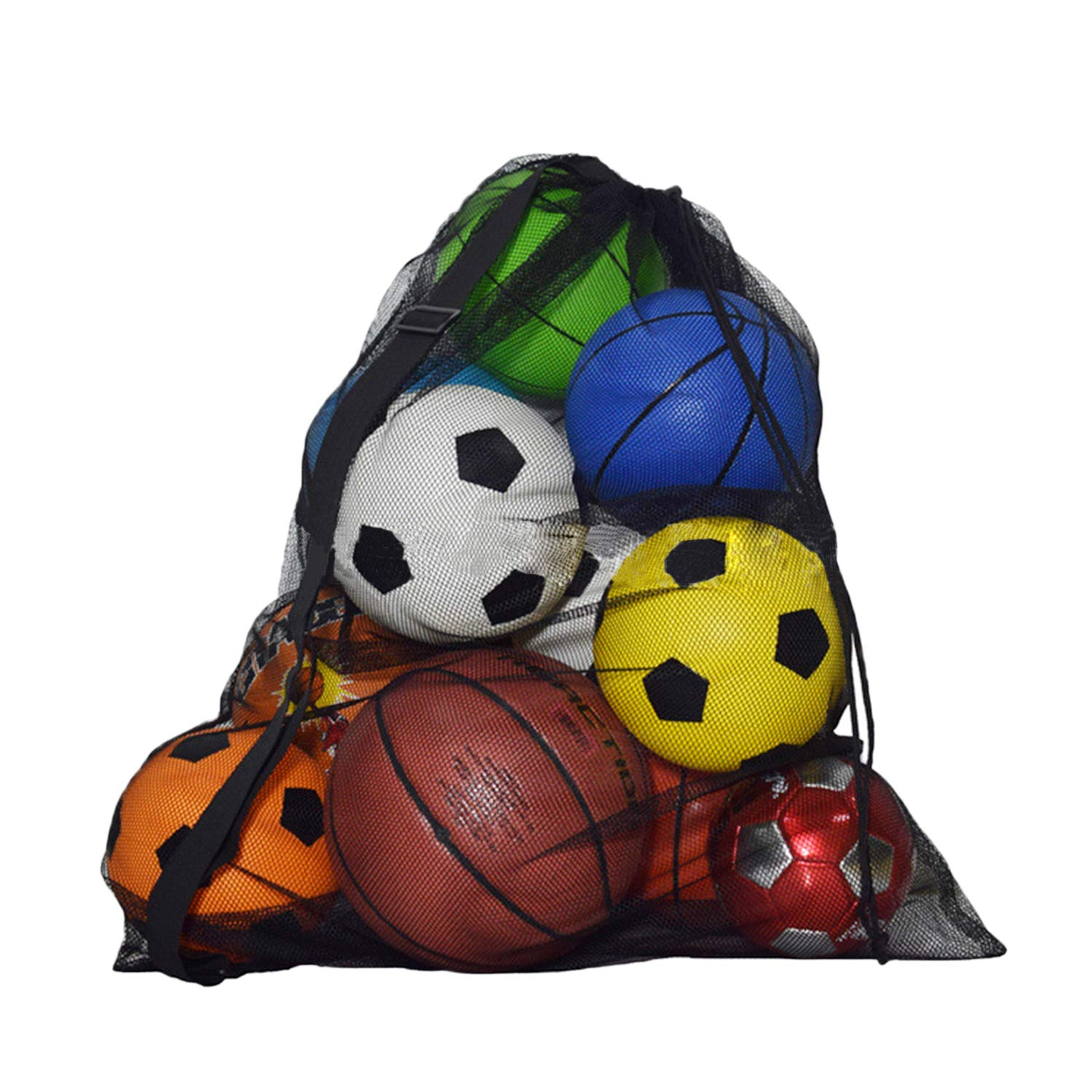 Heavy Duty Multiple Use Sports Drawstring Mesh Ball Bag Football Basketball Training Equipment Storage Bag Drawstring Shoulder Bag Carry Sack Netbag Organizer With Shoulder Strap For 10-15 Balls