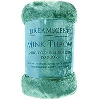 Dreamscene Luxe Faux Bont Mink Fleece Gooi Over Slaapbank Zachte Warme Deken, Teal Blauw, 125 x 150cm