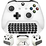 Whiteoak Xbox One S Chatpad Mini Gaming Keyboard Wireless Chat Message KeyPad with Audio/Headset Jack for Xbox One Elite & Slim Game Controller Gamepad - 2.4GHz Receiver included -White